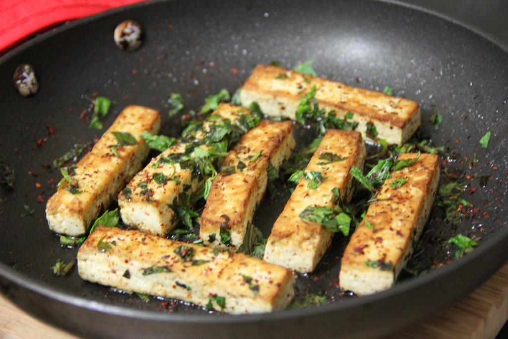 spicy mint seared tofu - glow kitchen