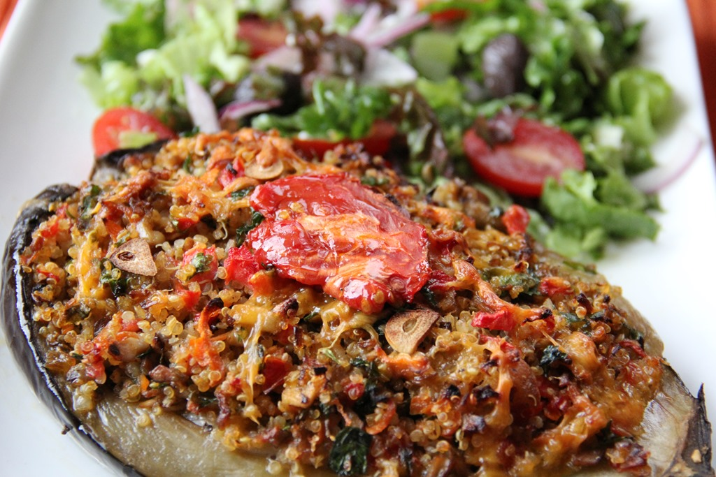 Quinoa and veggie stuffed eggplants glow kitchen quinoa and veggie stuffed eggplants forumfinder Images