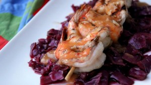red cabbage served with white fish