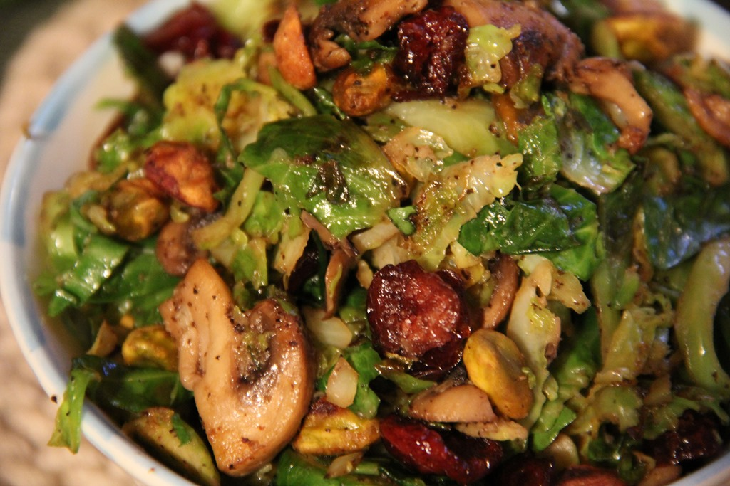 ... Sprouts and Mushroom Salad with Dried Cranberries and pistachios