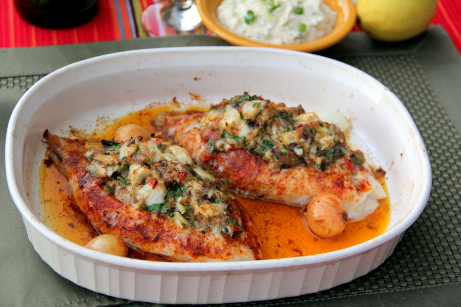 Crab stuffed tilapia glow kitchen for Stuffed fish with crab meat