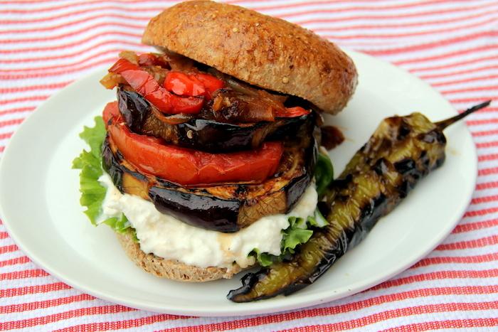 Grilled Eggplant Sandwich with Caramelized Onions and Garlic Yogurt ...